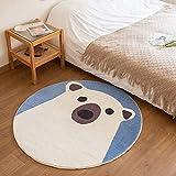 Round Polar Bear Rug for Kids Bedroom Baby Nursery Playroom Cute Animal Rug Super Soft Shaggy Plush Childern Rug, Small Circle Bathroom Rug Non-slip & Absorbent & Washable, Blue White Circular 31 Inch
