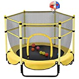 Trampoline for Kids, Trampoline with Basketball Hoop for Fun, Outdoor & Indoor Mini Toddler Trampoline (Yellow 5ft)