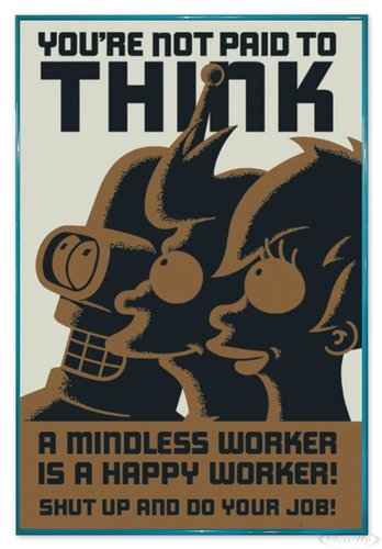 Close Up Futurama Poster You're not Paid to Think (94x63,5 cm) gerahmt in: Rahmen türkis