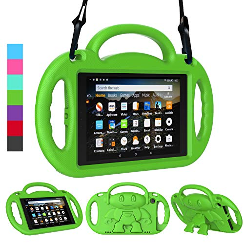 LEDNICEKER Kids Case for Fire HD 8 2018/2017 - Shockproof Handle Friendly Kids Stand Case with Shoulder Strap for Amazon for Fire HD 8 inch Tablet (7th & 8th Gen Tablet, 2017 & 2018 Release) - Green