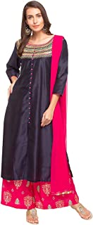 Haute Curry by Shoppers Stop Womens Round Neck Embroidered Palazzo Suit_Blue
