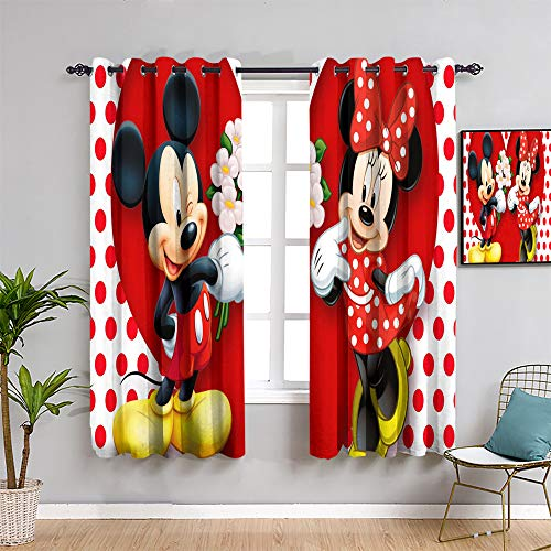 Mick-ey Mou-se Cortina para ventana, 160 cm de largo, diseño de Mickey Minnie Mouse, día de San Valentín, decoración de la habitación de los niños, cortina de baño de 52 x 63 pulgadas