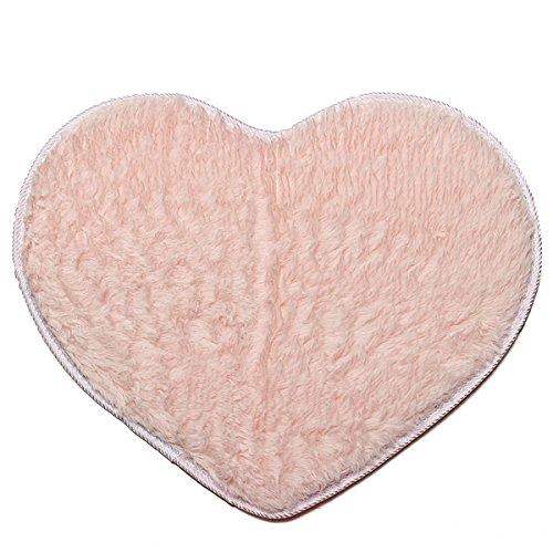 Bluelover 50X60Cm Corazón Forma Coral Terciopelo Alfombra Absorbente Anti Antideslizante Alfombra De Baño Shaggy Piso Alfombra-Rosa