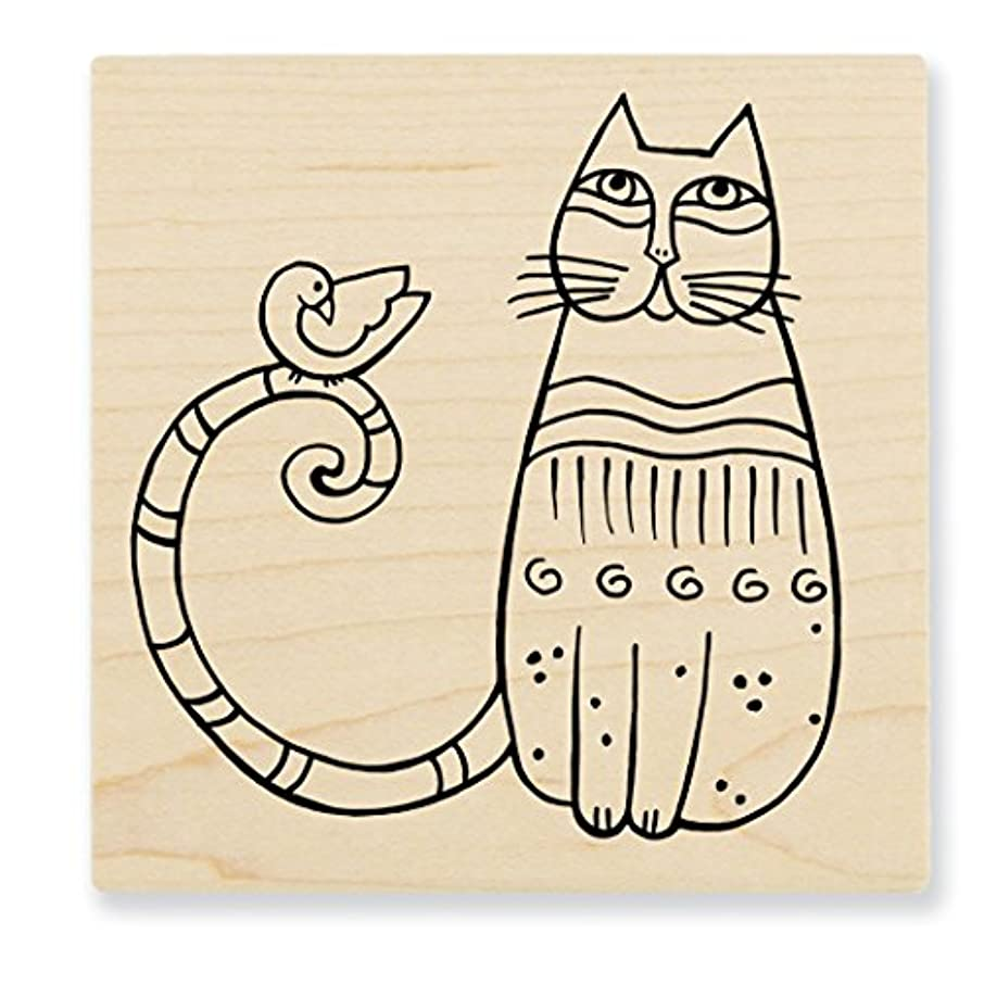 Stampendous LBQ002 Laurel Burch Wood Stamp, Cat & Feathered Friend