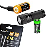 Fenix E15 450 Lumen CREE LED EDC Flashlight, Fenix ARB-L16-700U USB rechargeable battery and EdisonBright CR123A Lithium Battery bundle