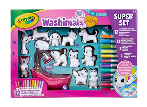 Washimals Súper Set Bañera y 12 Mascotas para colorear y d