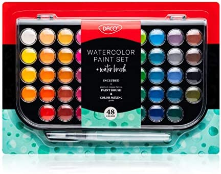 DACO Watercolor Paint Set Art Kit of 48 Solid Watercolor Paints Watercolor Brush Refillable product image