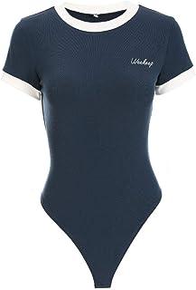 ACHICOO Tシャツ シャツ 女性 ボディスーツ カジュアル レター 刺繍 丸首 プリント 丸ネック ジャンプスーツ