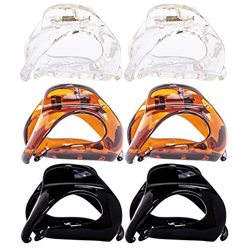 RC ROCHE ORNAMENT 6 Pcs Womens Oval Hollow Curved Jaw Clamp Barrette Interlocking Teeth No Slip Grip Beauty Fashion Girls Classic Plastic Accessory Hair Clip, Medium Clear Brown and Black