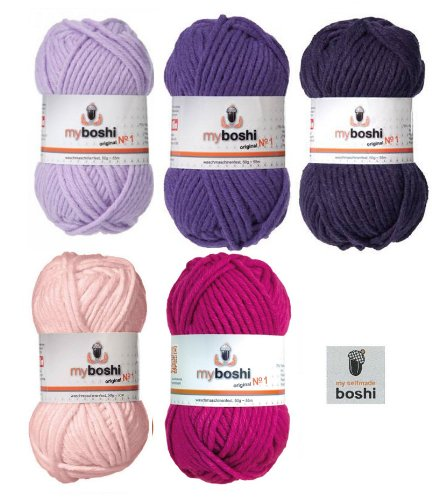 Mix-Sortiment myboshi Pink, Violett 5x50g (magnolie 138, magenta 162, candy purpur 161, violett 163, pflaume 165) + 1 myboshi Label
