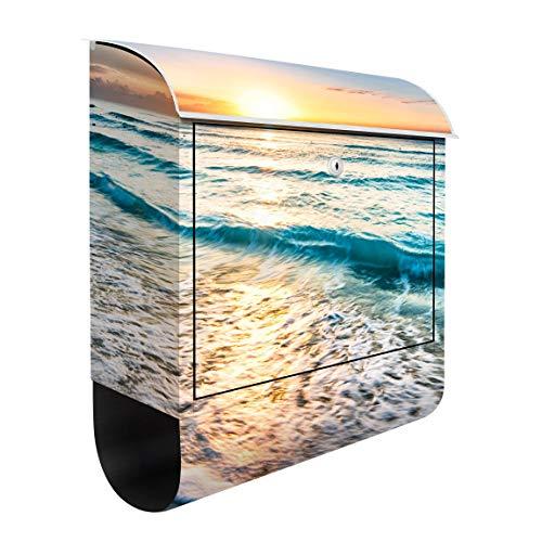 Bilderwelten Briefkasten mit Zeitungsrolle Sonnenuntergang am Strand 46cm x 39cm