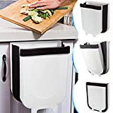 TTMOW Hanging Trash Can Folded for Kitchen Cabinet Door, Collapsible Trash Bin Small Compact Garbage Can Attached to Cabinet Door Kitchen Drawer Bedroom Dorm Room Car - 9L (White)