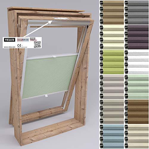 Gardinen21 Dachfenster Rollo mit Bohren I Plissee Dachfenster Velux-Kompatibel I Hochwertiges Verdunklungsrollo Sonnenschutz in Mintgrün: Schiene: Silber