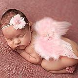 Anqeeso Babykleidung für Fotografie, Handmade Neugeborenes Baby Engel Feder Flügel-Anzug Kleidung Foto Prop Outfit Set mit Stirnband rose