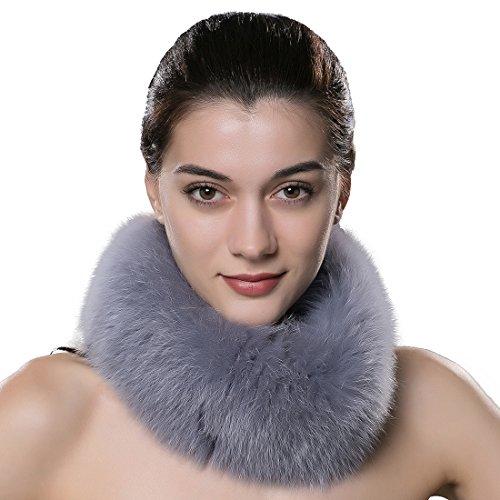 URSFUR Bufanda espesa de mujeres piel y pelo de zorro suave moda nueva estilo,Cuello mujer bufanda de piel de zorro para mujer invierno caliente y moda-Violeta