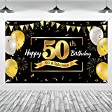Happy 50th Birthday Decoration Backdrop Cheers to 50 Yearsfor Men Women Birthday Party Anniversary Background