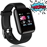 Smart Watch for Android Phones and iOS Phones Compatible iPhone Samsung, IP68 Swimming Waterproof Smartwatch Fitness Tracker Fitness Watch Heart Rate Monitor Smart Watches Black
