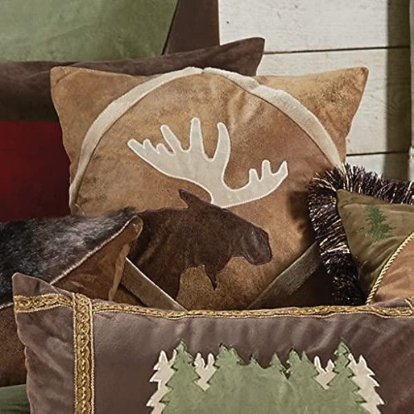BLACK FOREST DECOR Shearling Diamond Moose Pillow Rustic Bedding Linens