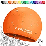 CybGene Silicone Swim Cap for Girls and Kids, Swimming Caps for Swimming Lesson-Size Small for Kids Under 10 Years Old- Color Orange