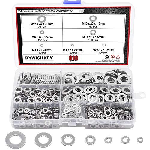 DYWISHKEY 810Pcs 7 Sizes Stainless Steel Flat Washers Assortment Kit (M3 M4 M5 M6 M8 M10 M12)