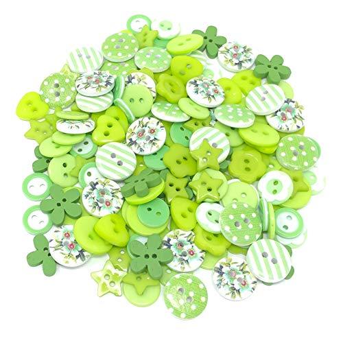 Knöpfe-Mix, Grün, Weiß, aus Holz, Acryl und Harz, für Kartenverzierungen, 150 Stück