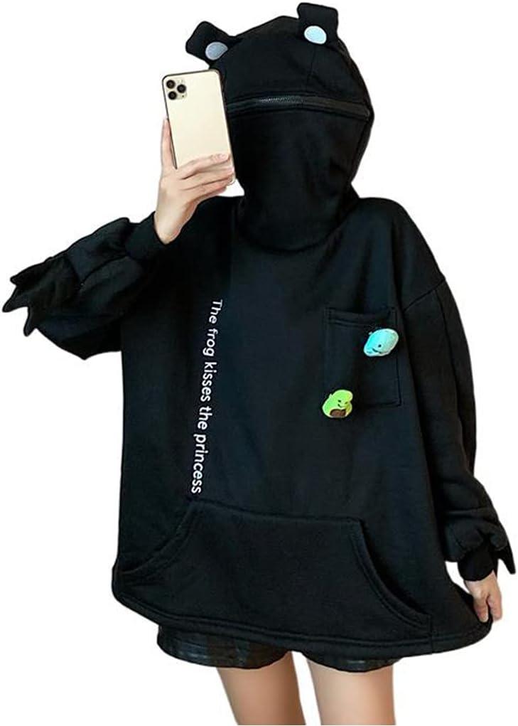 Unisex Frog Zipper Hoodie Fleece Lined, Novelty Frog Hoodies Pullover Cute Animal Shape Zip up Hooded Top Sweatshirt with Large Front Pocket (Black,3XL)