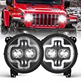 """BUNKER INDUST 9"""" Inch Wrangler JL LED Headlights with Halo DRL, 1 Pair Adjustable Headlamp for 2018 2019 2020 2021 Jeep JL/2019-2021 Jeep Gladiator JT Accessories High Low Beam Headlight with Daytime"""