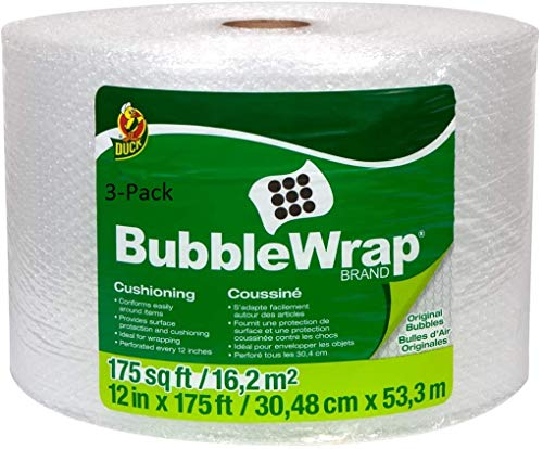 "Duck Brand Bubble Wrap Roll, Original Bubble Cushioning, 12"" x 175', Perforated Every 12"" (286891)(3-Pack)"