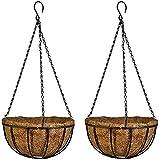Gesar 2 macetas de pared de fibra de coco – Cesta colgante para macetas – Estructura decorativa de hierro – Ideal para interiores y exteriores