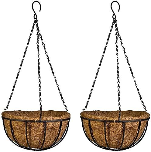 Gesar 2 macetas de pared de fibra de coco – Cesta colgante para macetas – Estructura decorativa...