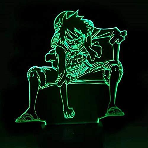 3D Lampe Anime One Piece Ruffy Figur Tischlampe USB Farbwechsel Atmosphäre Kind schlafen LED Nachtlicht Junge Geburtstagsgeschenk A-2023