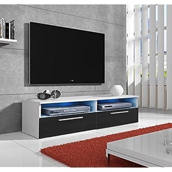 muebles bonitos – Mueble TV Modelo Cozumel en Blanco y Negro con Led: Amazon.es: Hogar