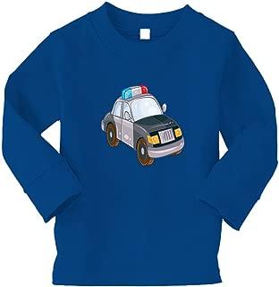 Police Car Little Kid/Baby Long Sleeve Cotton T-Shirt Tee - 3T, Royal Blue