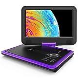 ieGeek 11.5' Lettore DVD portatile con lo schermo girevole a 360° per protezione occhi LCD, batteria ricaricabile potenziata di 5 ore, riproduzione memoria supportata, riproduzione loop (Viola)
