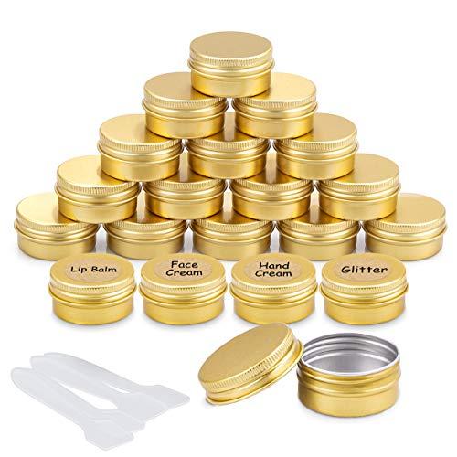 20 Stück Aluminium Leer Döschen Rund Reise Cremedose Tiegel für Creme Lotion Masken Kosmetik Nagelkunst(20ml) (Gold)