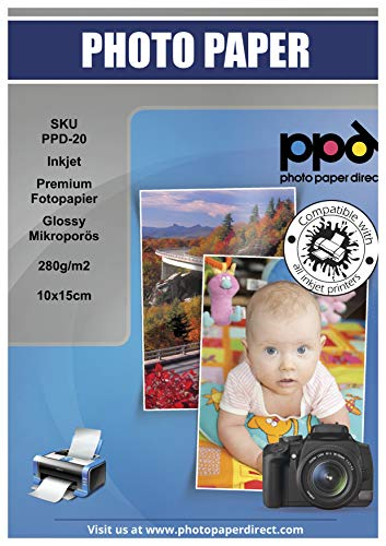 PPD Inkjet 280 g/m2 Premium fotopapier Glossy microporeus 10x15cm x 200 stuks PPD020-200