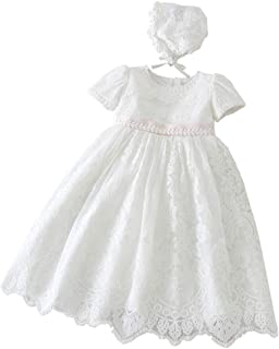 Xopzsiay Baby Girls Embroidered Empire Waist Christening Gown Baptism Dress with Bonnet