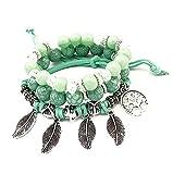 Bracelet Arbre - Trois Bracelets en Perles Naturelle avec Pendentif Arbre de Vie Porte Bonheur - Vert