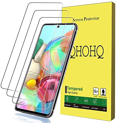 QHOHQ Compatible Screen Protector for Samsung Galaxy A71 4G/Galaxy A71 5G/Galaxy S10 Lite/Galaxy Note 10 Lite, [9H Hardness] HD Transparent Scratch-Resistant [Bubble Free] Tempered Glass (Pack of 3)