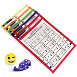 5 Fundas Fichas Reutilizables Papel A4 | Dry Erase Pockets Tamaño Grande 36x26cm | PET Reciclable...