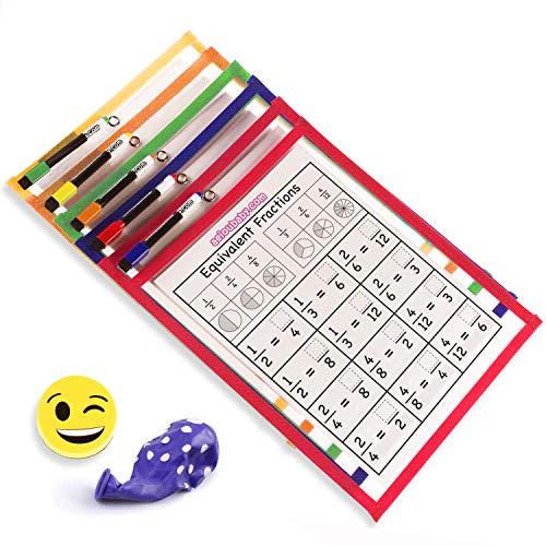 5 Dry Erase Pockets | herbruikbare hoesjes A4 papier fiches | groot formaat 36 x 26 cm | ecologisch recyclebaar PET | 5 kleuren, 5 markers, gum en ballon | schoolbenodigdheden, school, kleuterschool, crèche (5, A4)