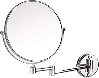 Vanity Mirror Wall-Mounted Makeup Mirror Nail-Free Perforated Dual-use 360-degree Rotating Bracket Double-Sided Stainless Steel HD for Home (Color : Silver, Size : 6 inches)