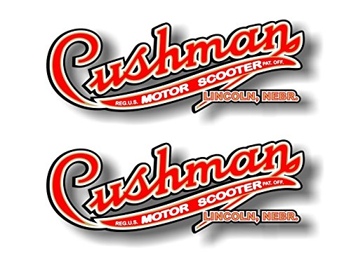 """2 Cushman Motor Scooter 9"""" Decals Vintage Eagle Husky Scooters Golfster Vinyl Stickers"""