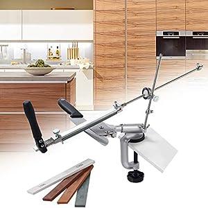 SEAAN Afilador de cuchillos manual profesional con 4 muelas, afilador de cuchillos de ángulo fijo con rotación Pro RX-008, juego de herramientas de afilado de cocina profesional