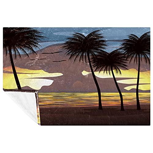 BestIdeas Sunset Sky con árboles de coco, impresión de playa, suave, cálida y acogedora, manta para cama, sofá, picnic, camping, playa, 150 x 100 cm