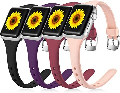 Laffav Slim Band Compatible with Apple Watch 40mm 38mm for Women Men Narrow Soft Silicone Thin product image