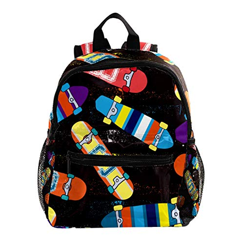 Mochilas Infantiles Patineta Negra Bolsa Escuela Mochila para Niños Ajustable Bolsas de Libros de Kindergarten Niños Niñas Bolsas 25.4x10x30 CM