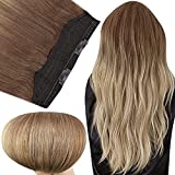 Fshine Hidden Hair Extensions Crown Human Hair 12 Inch Wire Hair Extensions Golden Brown Fading to Blonde Balayage Clip in Hair Extensions One Piece 70Gram Headband Human Hair for Women