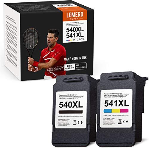 2 LEMERO SUPERX Rigenerata Cartucce d'inchiostro per Canon PG-540 CL-541 XL Cartucce d'inchiostro per Canon Pixma MG3650 MG3550 MG2250 MG3150 MG3600 MG4250 MX375 MX395 TS5150 TS5151,1Nero 1Tricromia