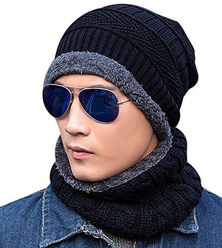 Gorro Invierno Hombre con Bufanda, Calentar Sombreros Gorras Beanie de Punto